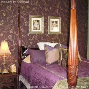 Elegant Purple Bedroom with Patterned Accent Wall - Flourish Allover Vine Wall Stencils - Royal Design Studio