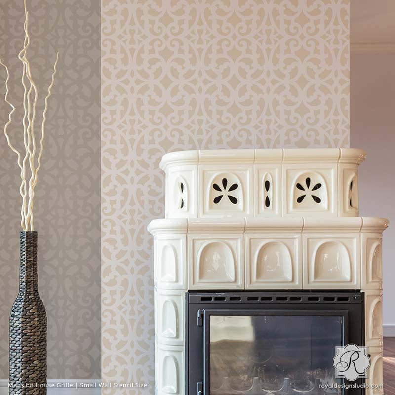 ... Room Makoever Idea   Neutral Painted And Stenciled Living Room Accent  Wall   Mansion House Grille ...