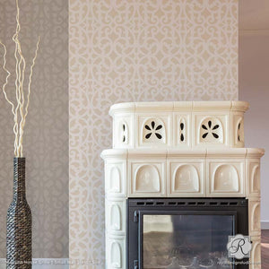 Room Makoever Idea - Neutral Painted and Stenciled Living Room Accent Wall - Mansion House Grille Trellis Wall Stencils - Royal Design Studio