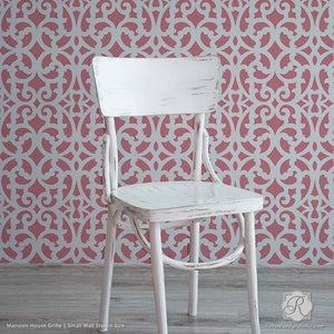 Modern Trellis Wallpaper Look Painted on Accent Wall - Mansion House Grille Trellis Wall Stencils - Royal Design Studio