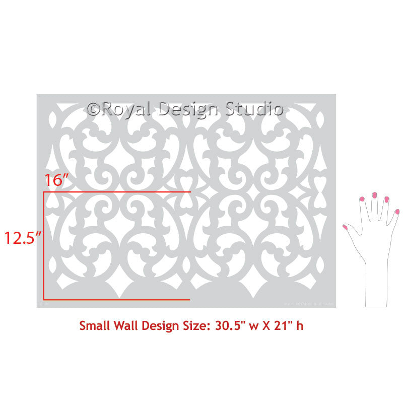 DIY Room Makeover using Exotic European Trellis Patterns and Designer Wallpaper Stencils - Mansion House Grille Trellis Wall Stencils - Royal Design Studio