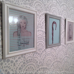 Classy and Chic Girls Room Wallpaper Look with Spanish Lace Scallop Wall Stencils - Royal Design Studio