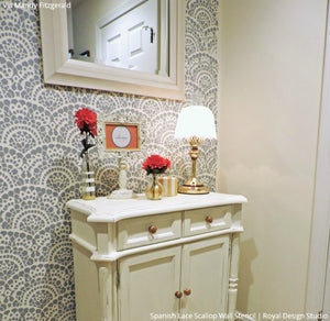 Spanish Lace Scallop Wall Stencil