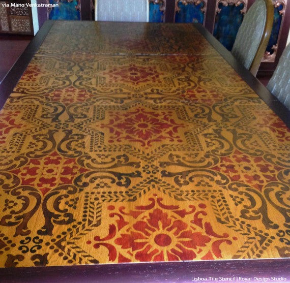 Colorful Stained Hard Wood Table Top for Stenciling - Lisboa Tile Stencil - Royal Design Studio