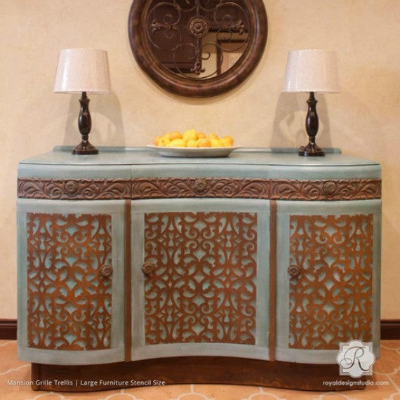 Faux Carved Wood and Patina Effect - Mansion House Grille Trellis Furniture Stencils - Royal Design Studio