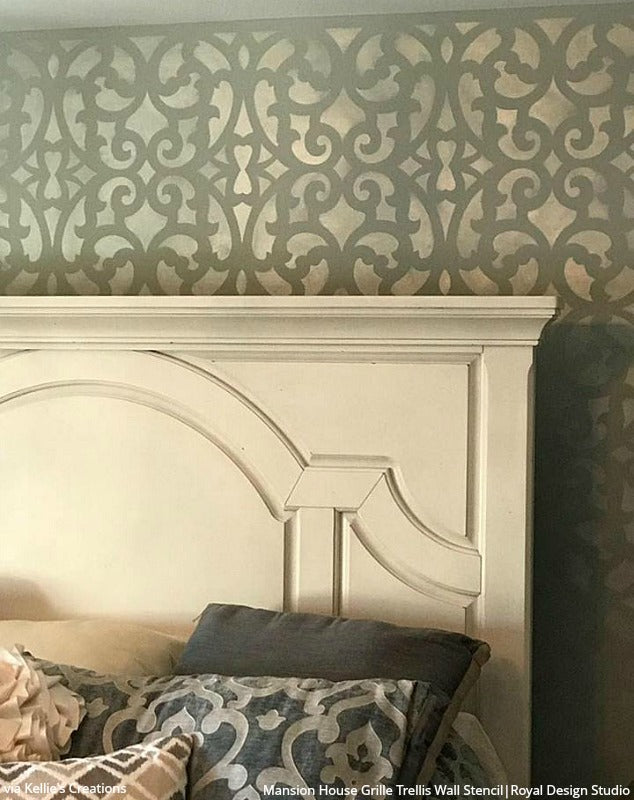 Large Exotic Trellis Wall Stencils For Diy Painting Royal Design