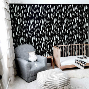 Black and White Designer Nursery Decor with Wallpaper Look - Timberland Forest Trees Wall Stencils - Royal Design Studio