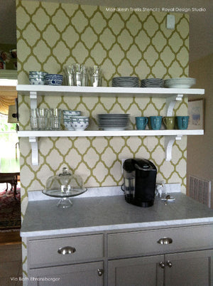 DIY Tile Kitchen Backsplash - Marrakesh Trellis Moroccan Wall Stencils by Royal Design Studio