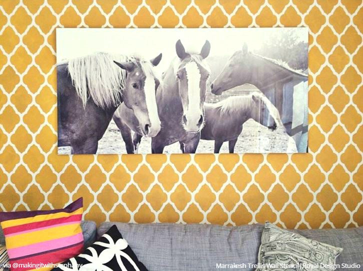 Boho Chic Decorating - Bohemian Moroccan Trellis Wall Stencils for Painting - Royal Design Studio