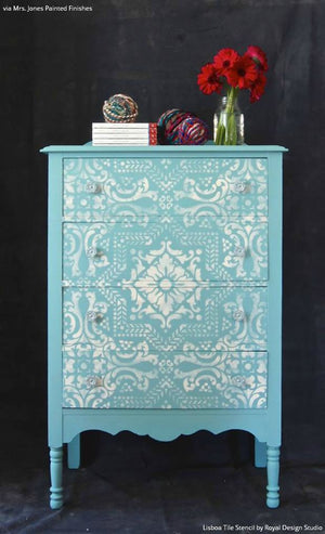 Tiffany Blue and White Chalk Paint Painted Furniture with Lisboa Tile Stencils - Royal Design Studio