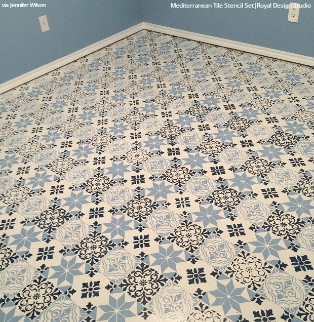 Chalk Paint Painted Floor Tile Stencils - Royal Design Studio