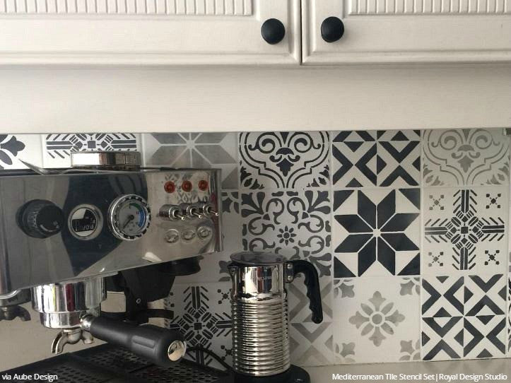 Chalk Paint Painted Kitchen Backsplash Tile Stencils - Royal Design Studio