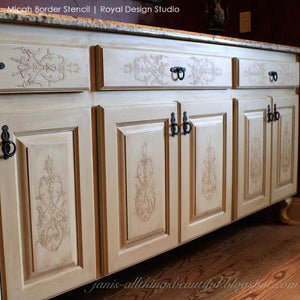 DIY Painted Furniture Projects and Embossed Plaster - Micah Theorem Classic Panel Stencils - Royal Design Studio