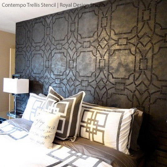 Elegant and Modern Wall Decor - DIY Wallpaper Wall Stencils Contempo Trellis - Royal Design Studio