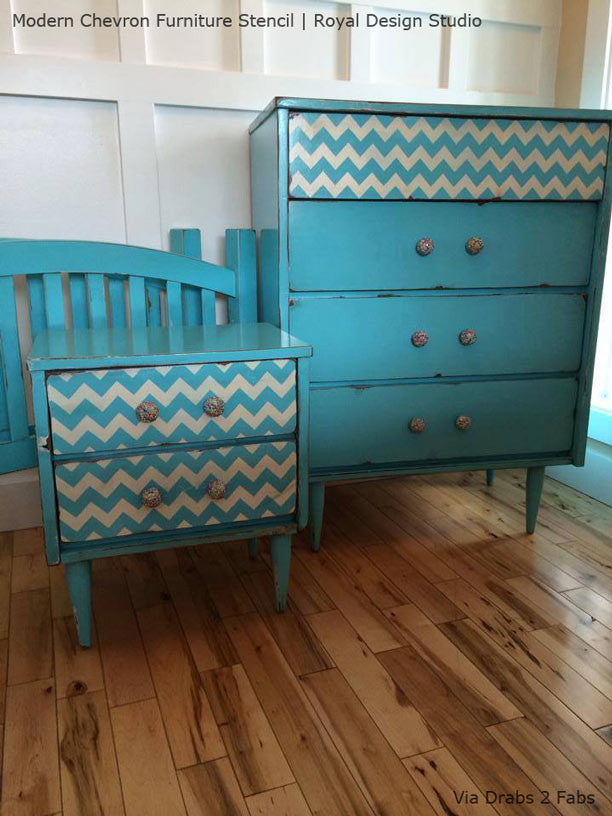Classic Pattern Painted onto Dresser Drawers - Modern Chevron Furniture Stencil by Royal Design Studio
