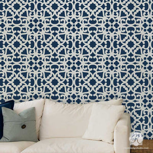 DIY Exotic Home Decor using Modern Moroccan Lace Wall Stencils for Easy Painting