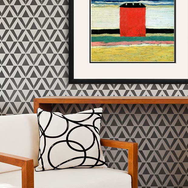 Modern, Geometric, Tribal Patterns for Painting Accent Walls - Asmir Triangle Wall Stencils - Royal Design Studio