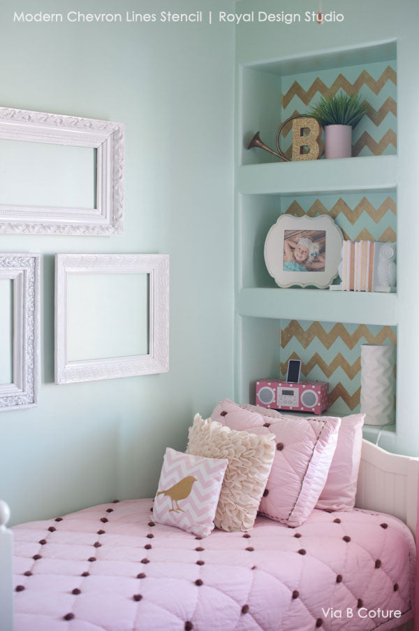 cute girls room decor ideas modern and classic patterns for painting walls chevron wall. beautiful ideas. Home Design Ideas