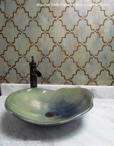 Metallic Bathroom Walls Makeover - Moorish Trellis Moroccan Wall Stencils - Royal Design Studio