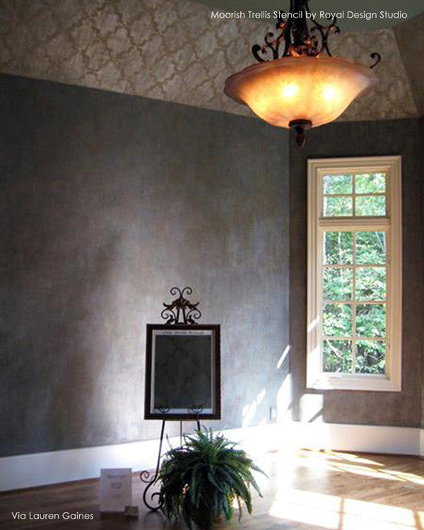 Dark Dramatic Home Decor - Moorish Trellis Wall Stencils by Royal Design Studio