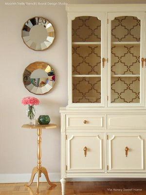 DIY Painted Cabinet Hutch - Moorish Trellis Furnitrue Stencils by Royal Design Studio