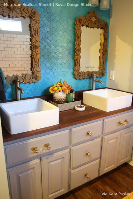 Nautical and Beach Themed Bathroom - Ocean Wave Scallops Wall Stencils for Painting - Royal Design
