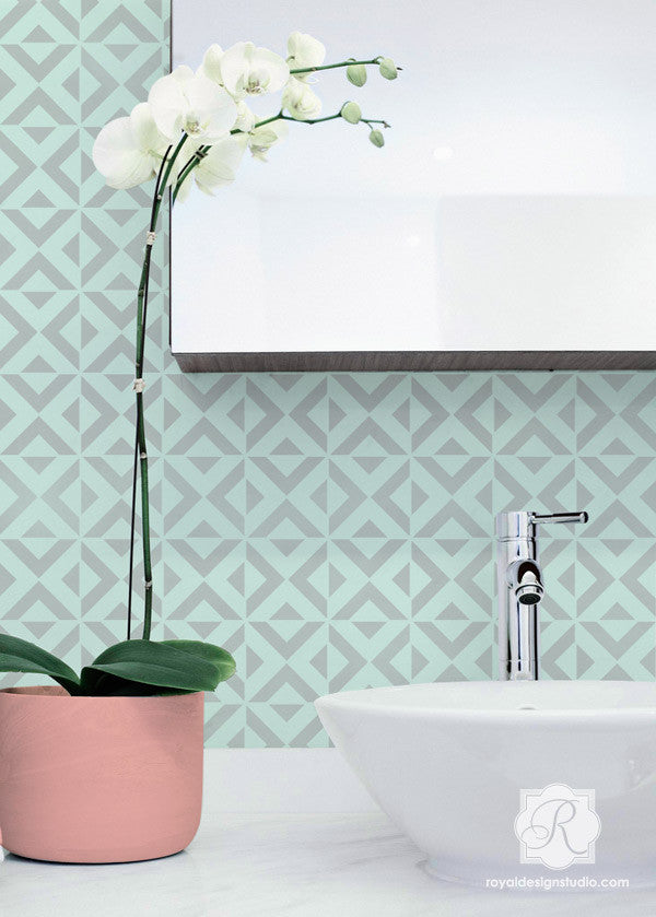 Contemporary Home Decor and Wallpaper Look using All the Angles Moroccan Wall Stencils - Royal Design Studio