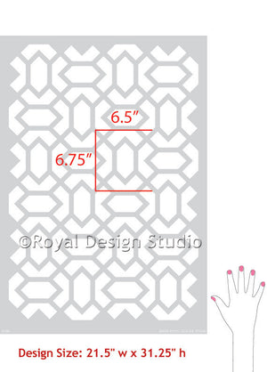 Altas Allover Moroccan Wall Stencils - Exotic or Modern Home Decor Design - Royal Design Studio