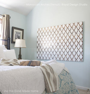 Moroccan Arches Stencils by Royal Design Studio for Painted DIY Canvas Wall Art in Bedroom