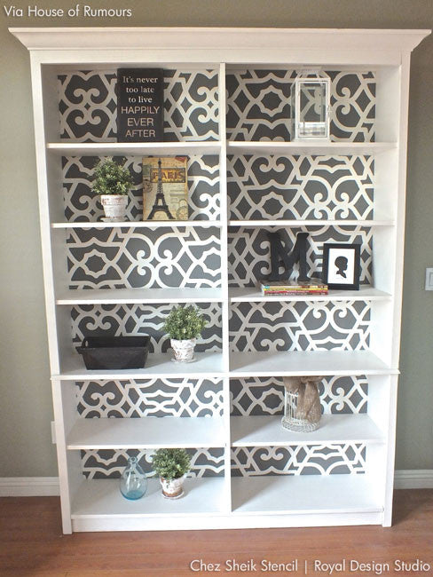 Stencil a Bookcase with Moroccan Patterns and Furniture Stencils