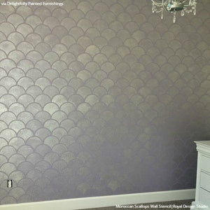Metallic Silver Accent Wall Stencils for Painting Chic Design - Moroccan Scallops Wall Stencils - Royal Design Studio