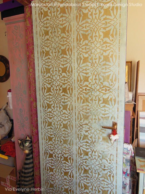 Exotic Painted Doors with Moroccan Border Stencils - Royal Design Studio