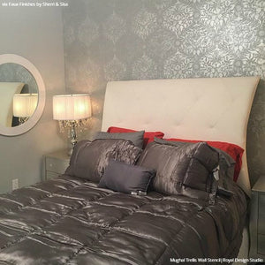 Metallic Wallpaper Bohemian Wall Stencils Bedroom Makeover - Royal Design Studio