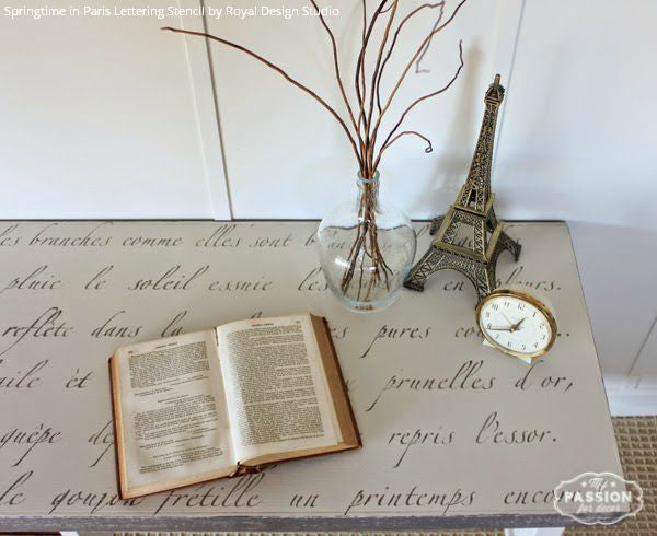 DIY Shabby Chic Vintage Decor and Painted Table Top - Springtime in Paris Lettering Stencils - Royal Design Studio