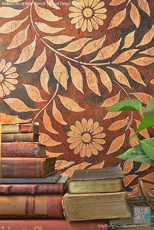Indian Floral Wall Stencil