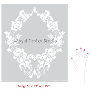 DIY painting and stenciling vintage patterns on walls and home decor - Floral Cascade Damask Wall Stencil - Royal Design Studio