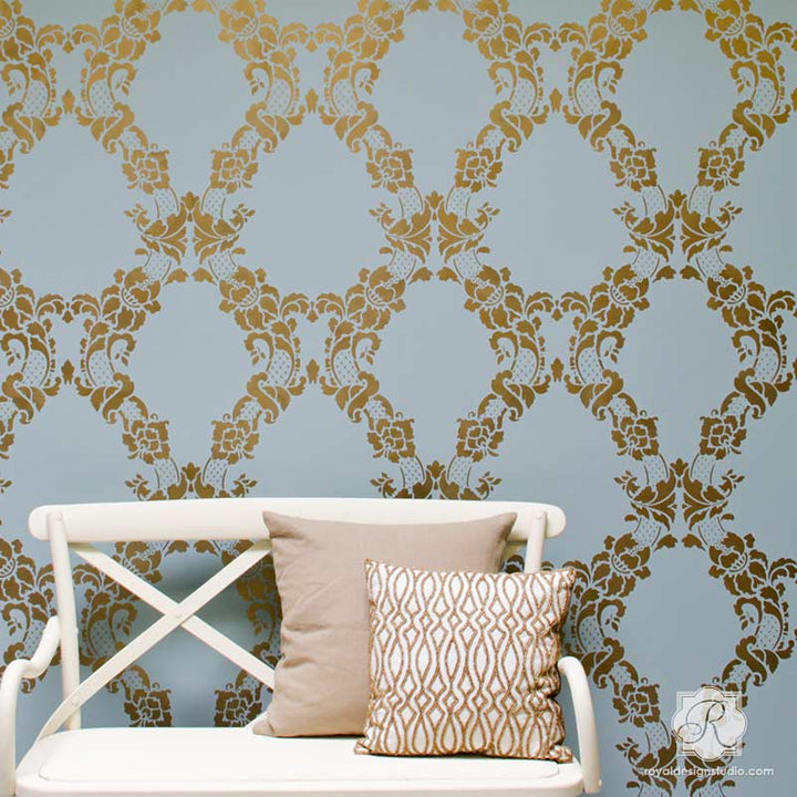 Elegant damask wall stencils with wallpaper look - Floral Cascade Damask Wall Stencils - Royal Design Studio