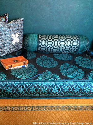 Boho Chic Fabric Decor Indian Moroccan Design Furniture Stencils - Royal Design Sudio