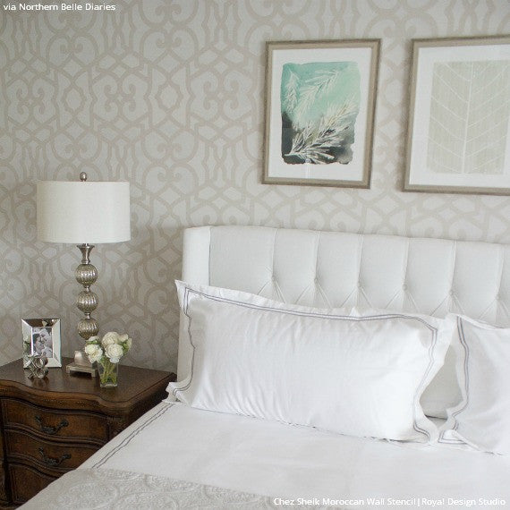 Monochromatic White Bedroom Makeover using Chez Sheik Moroccan Wall Stencils - Royal Design Studio