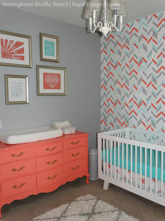 Nursery herringbone Wall Stencil