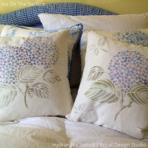 Painted DIY Pillows with Classic Japanese Pattern and Hydrangea Flower Stencils - Royal Design Studio