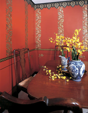 Oriental Brocade Wall Stencils Frieze
