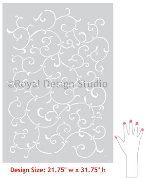 Oriental and Asian Designs - Allover Vine Wall Stencil Patterns - Royal Design Studio