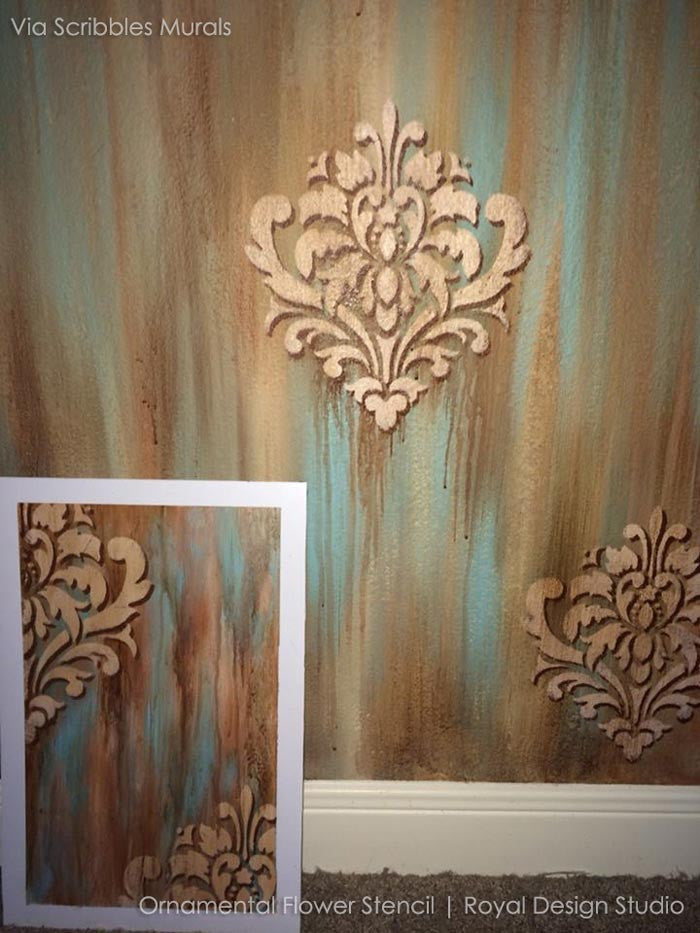 Wall Stencil Ornamental Flower Wall Stencil Royal
