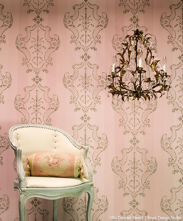 DIY Painted Wallpaper Look with Italian Damask Stencils - Villa Damask Wall Stencils with Ombre Pink Chalk Paint - Royal Design Studio