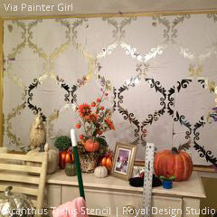 DIY Antique Mirror Home Decor Project using Acanthus Trellis Wall Stencils - Royal Design Studio