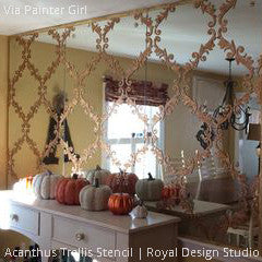 Large Trellis Wall Stencil | Acanthus Damask Wall Stencil for DIY ...