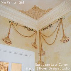 European Lace Corner Ceiling Stencils for Classic DIY Decorating - Royal Design Studio