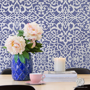 Trendy Wallpaper Designs with Pattern Wall Stencils - Easy DIY Decor Idea