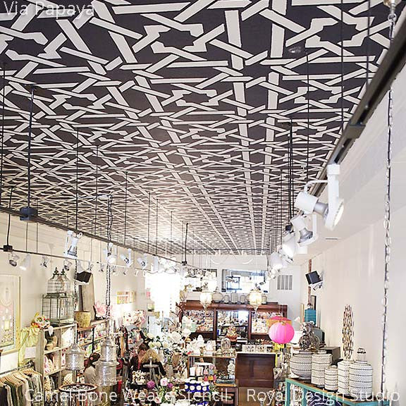 DIY Painted Ceiling with Contrasting Black and White Exotic Pattern - Camel Bone Weave Moroccan Stencils - Royal Design Studio
